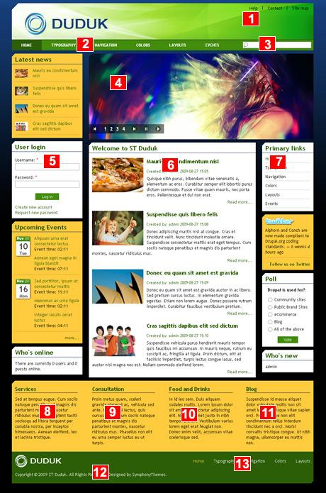 Drupal theme ST Duduk layout