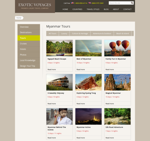 A tour page built by Drupal views - Exotic Voyages website