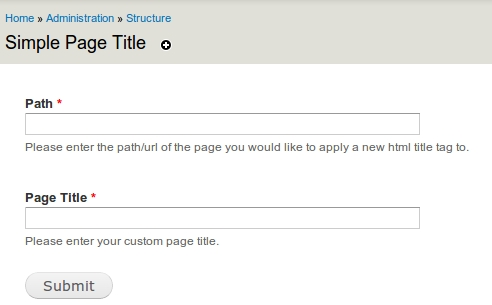 Using Simple page title module in Drupal