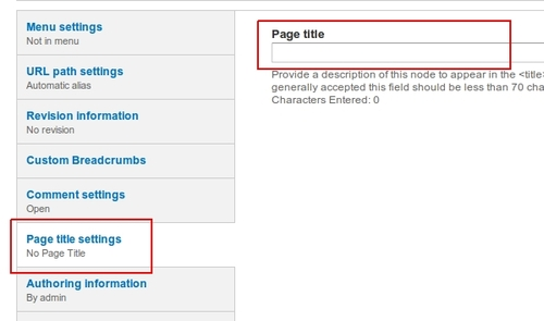 Set page title for nodes in Drupal