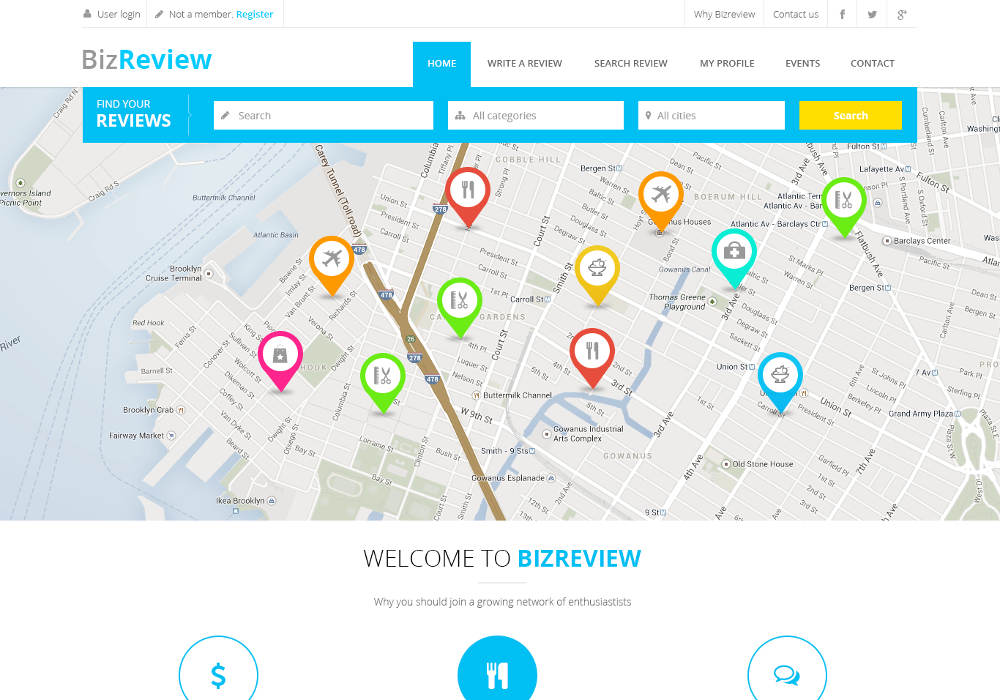 BizReview - Directory Business Listing Drupal 7 Theme   SymphonyThemes